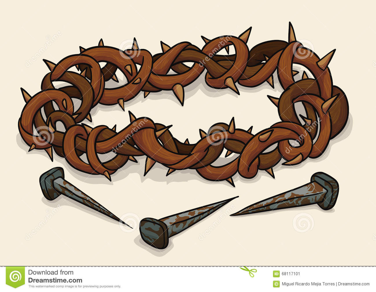 Crown Of Thorns And Nails For Good Friday, Vector