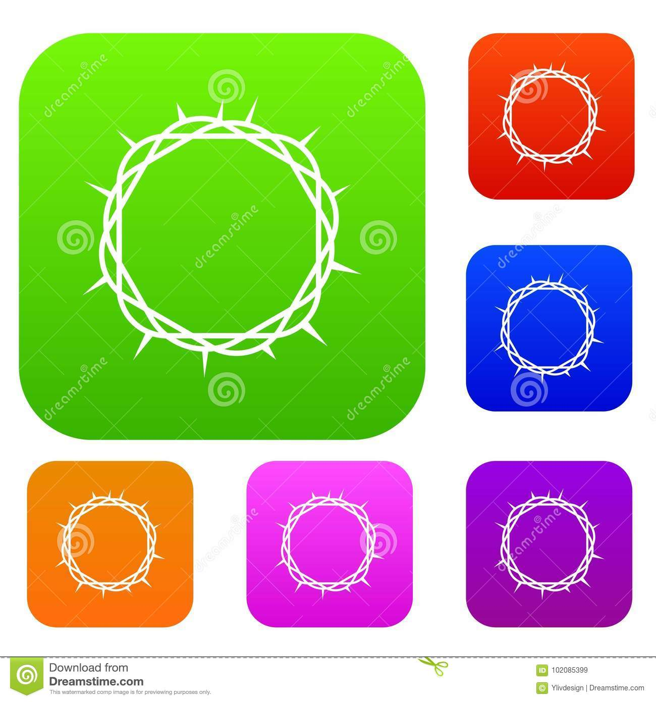 Crown Of Thorns Set Color Collection Stock Vector - Illustration of ...