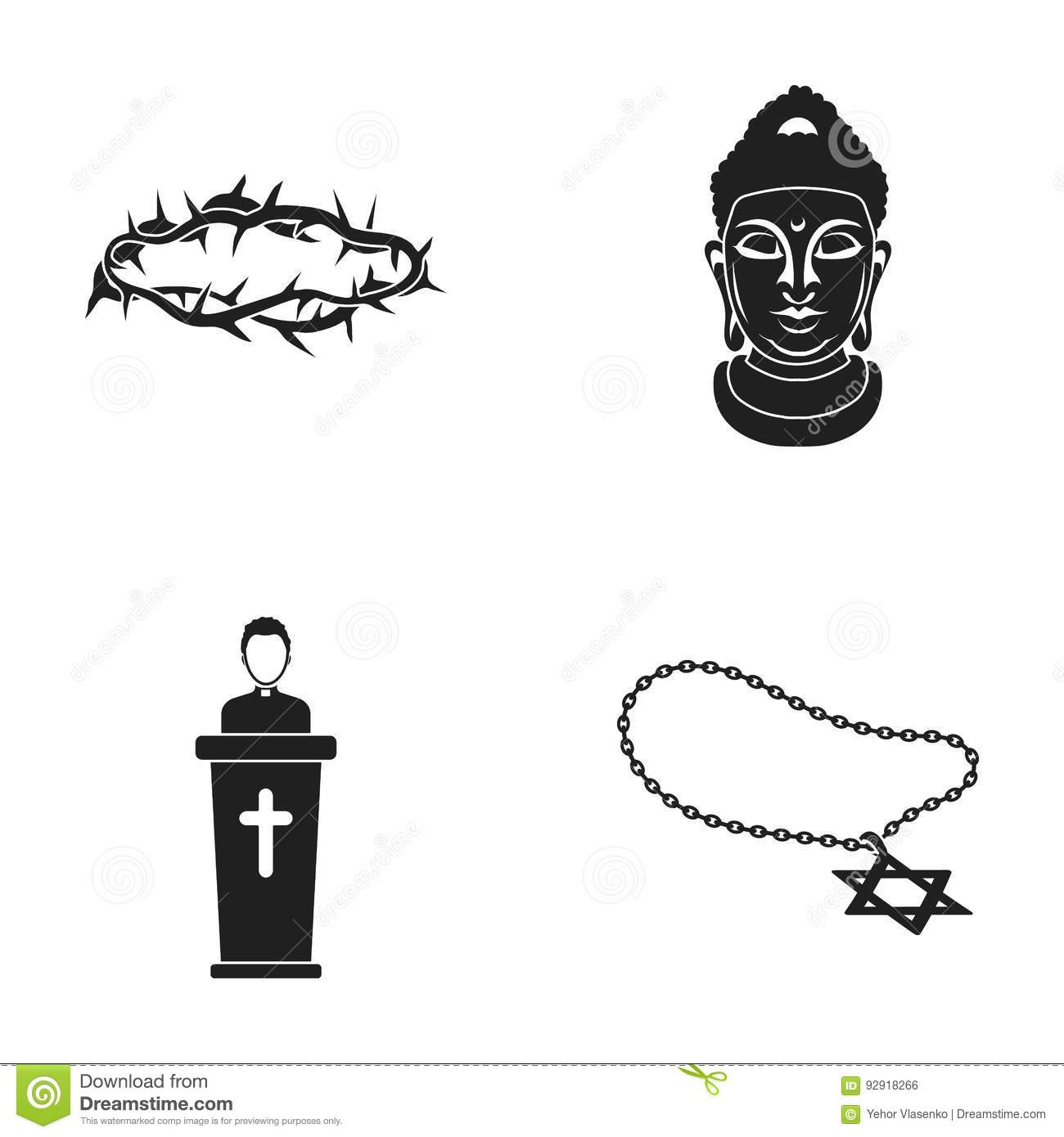 A Crown Of Thorns, A Star Of David, A Priest, A Buddha S