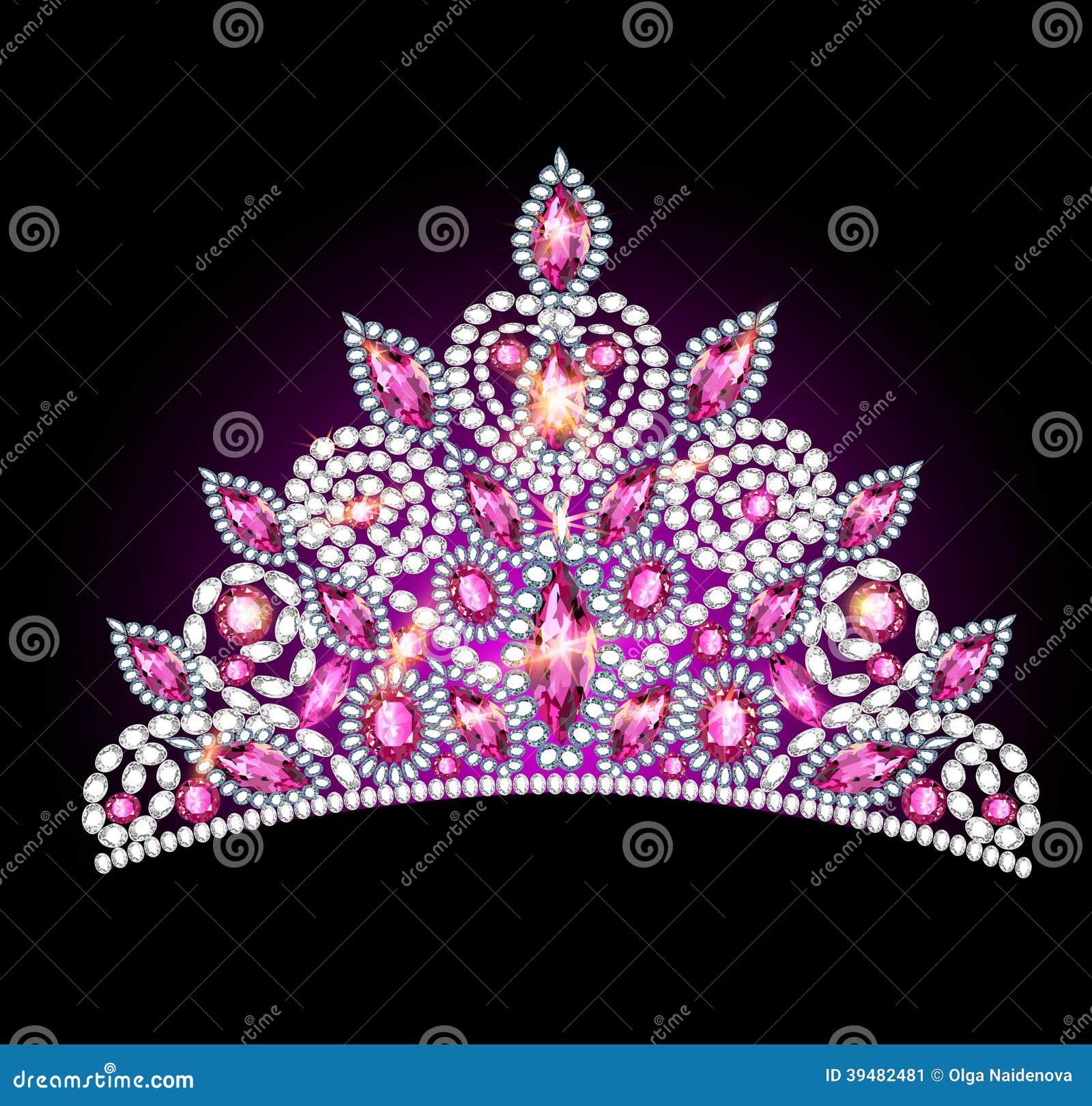 Crown tiara women with pink gemstones