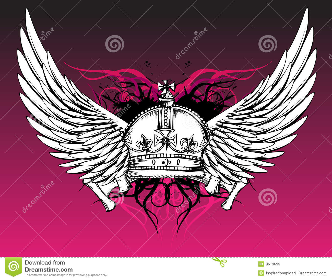 crown and wings tattoo on pink stock vector