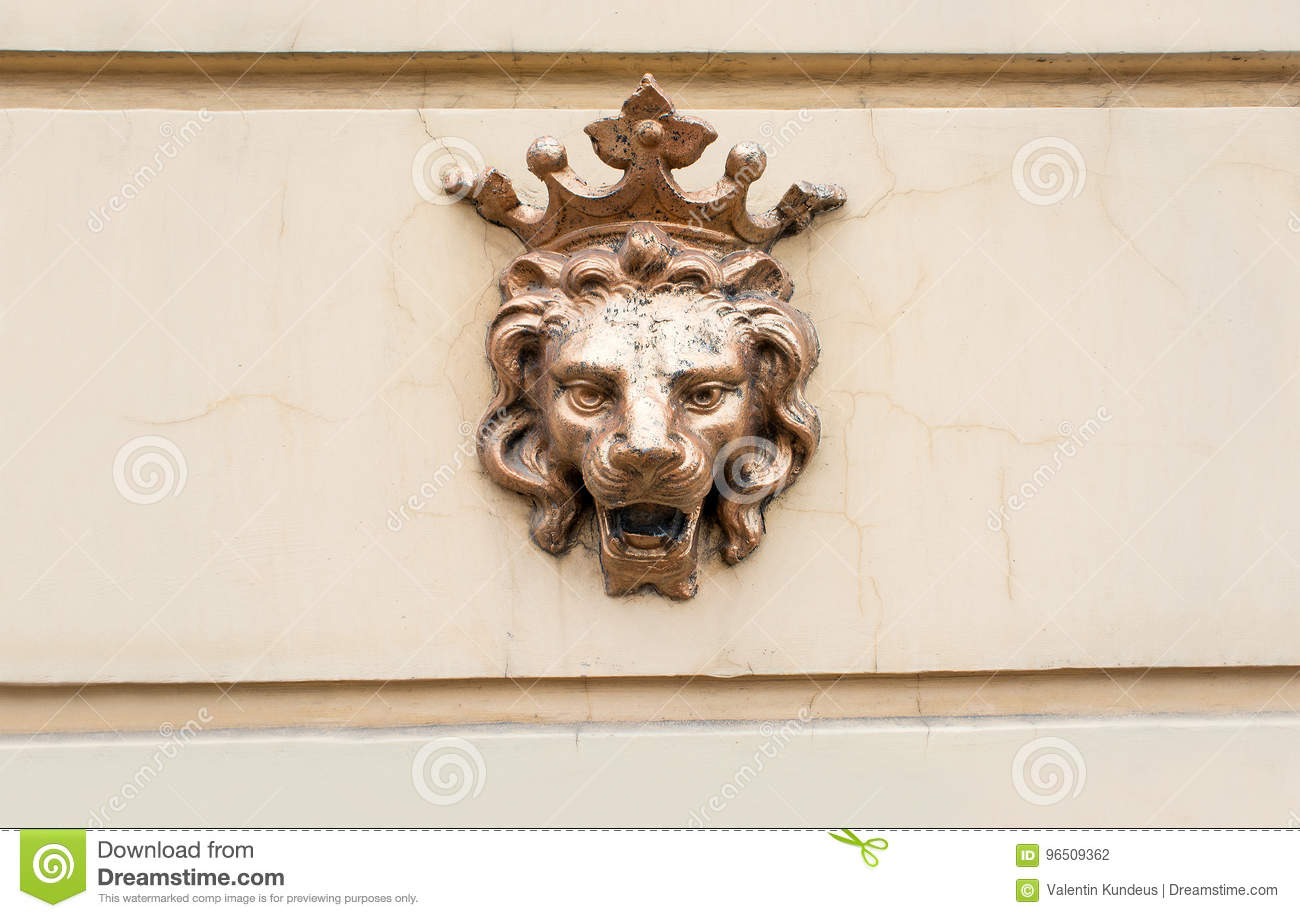 Crowned Lion A Symbol Of Power Figure Of Bronze Lion On The