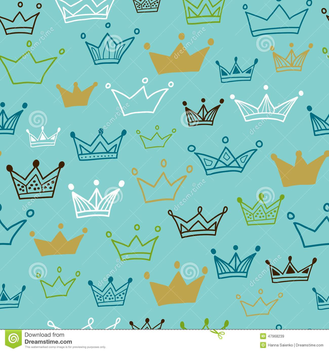 Crowns Seamless Pattern On Pastel Background Vector