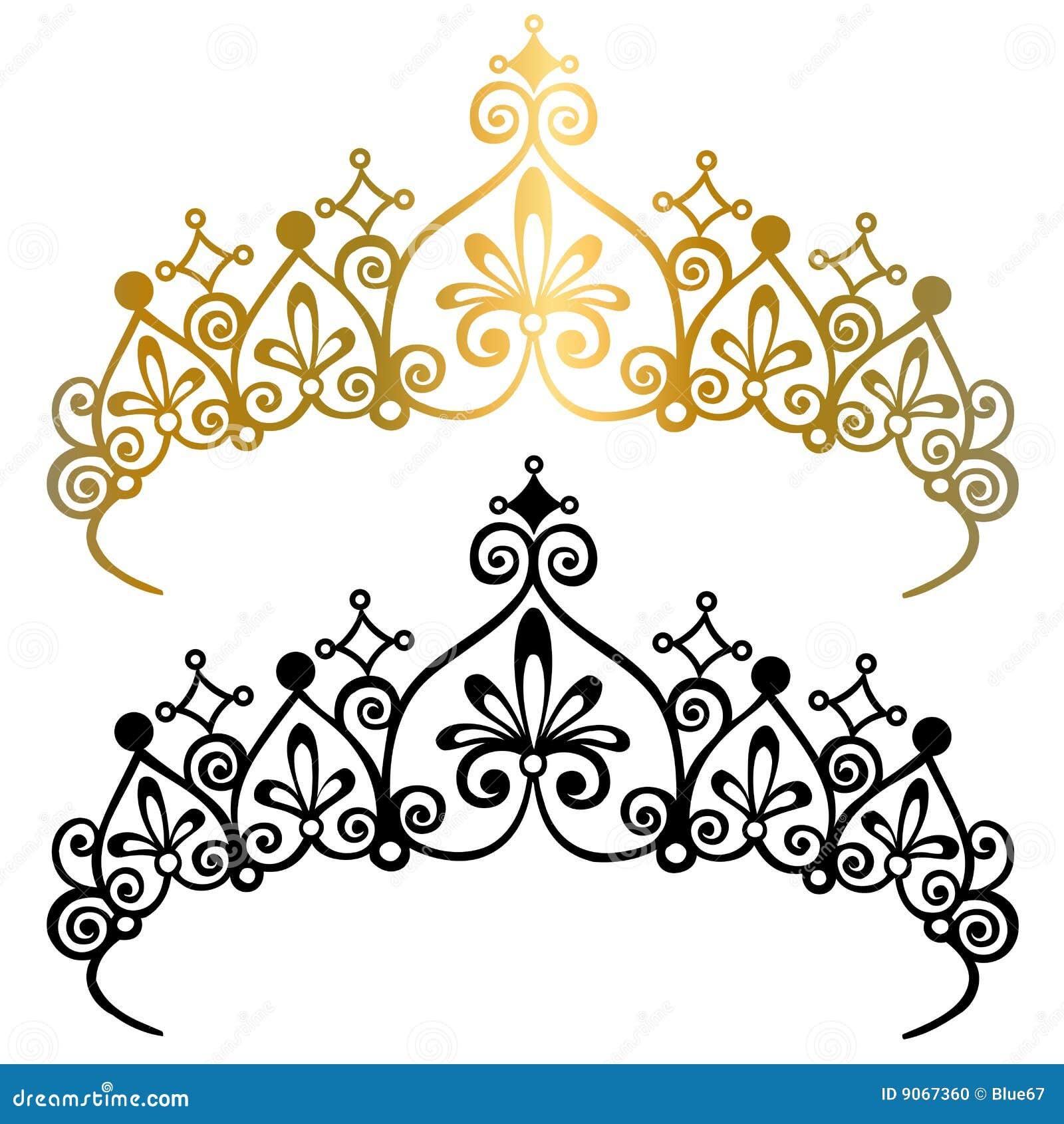 Crowns vektorn för illustrationprincesstiaraen