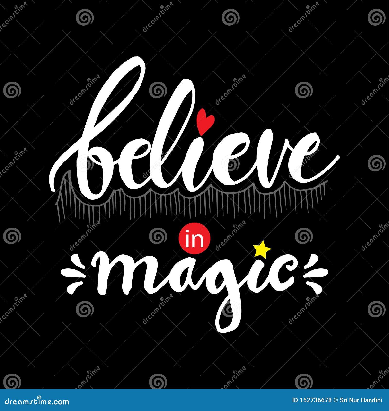 Croyez en lettrage magique de main