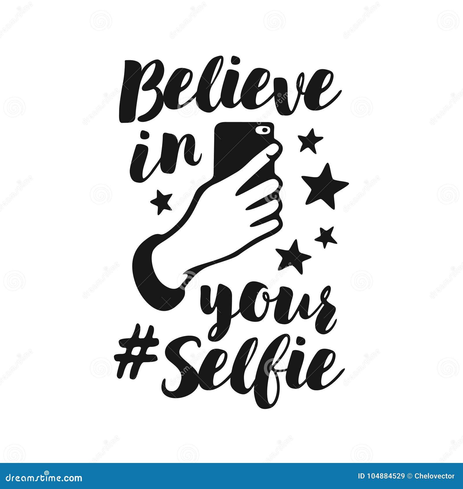 Croyez en votre affiche drôle de selfie Illustration de vintage de vecteur