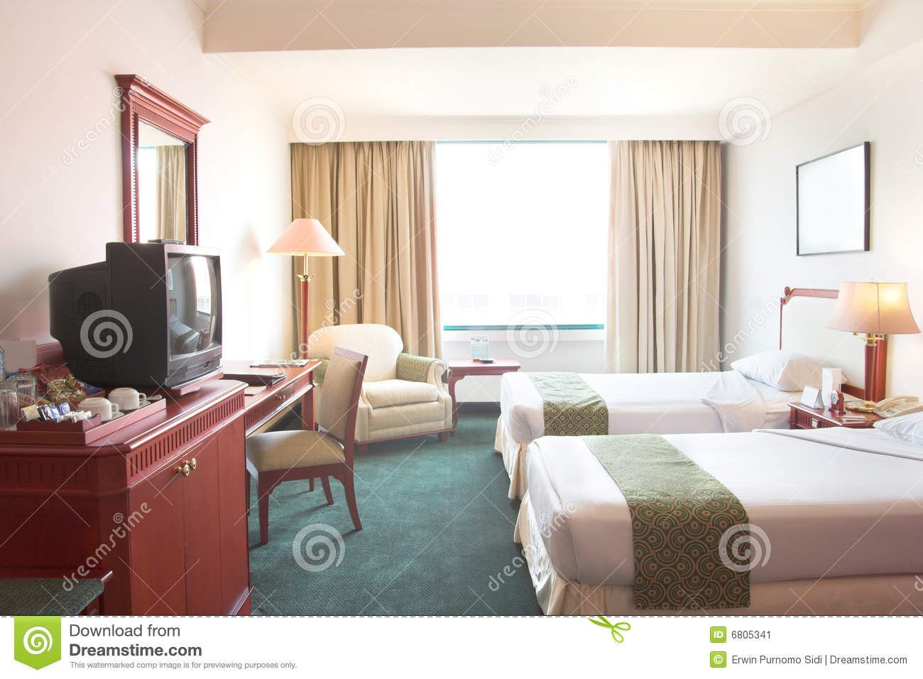 Crt tv in the hotel room stock image. Image of accommodation - 6805341