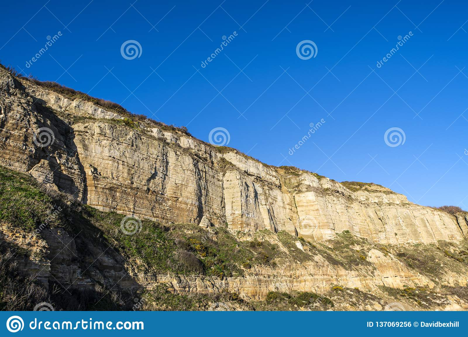 Crtaceous Sandstone Cliffs at Hastings in East Sussex, England