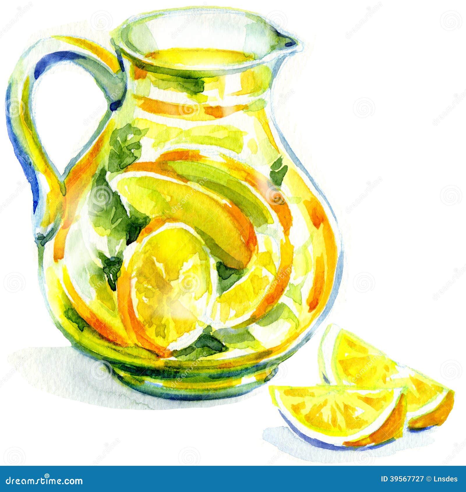 Cruche de limonade avec la menthe. peinture d aquarelle