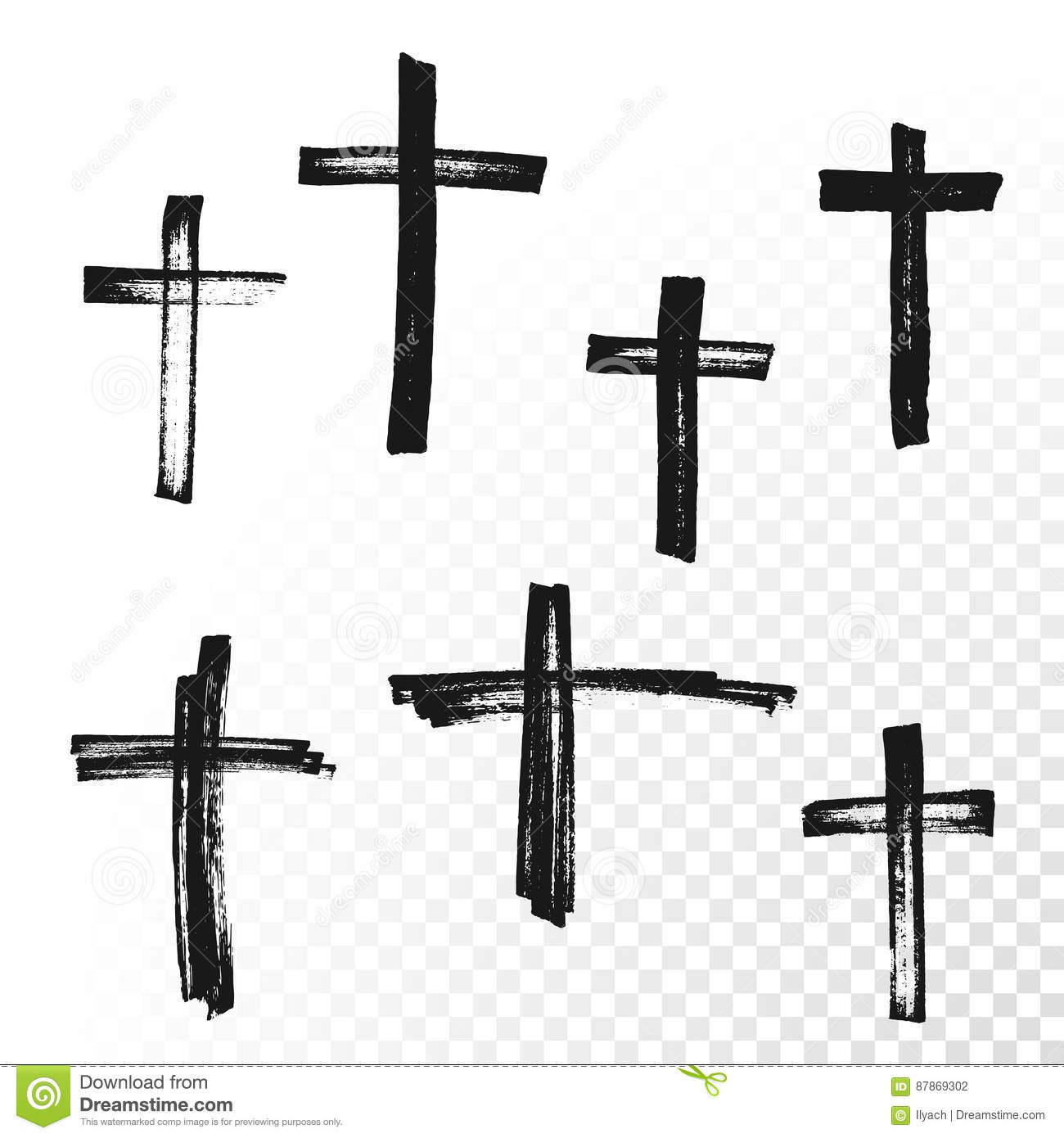 Crucifix Cross Hand Drawn Paint Brush Vector Icon Stock Vector