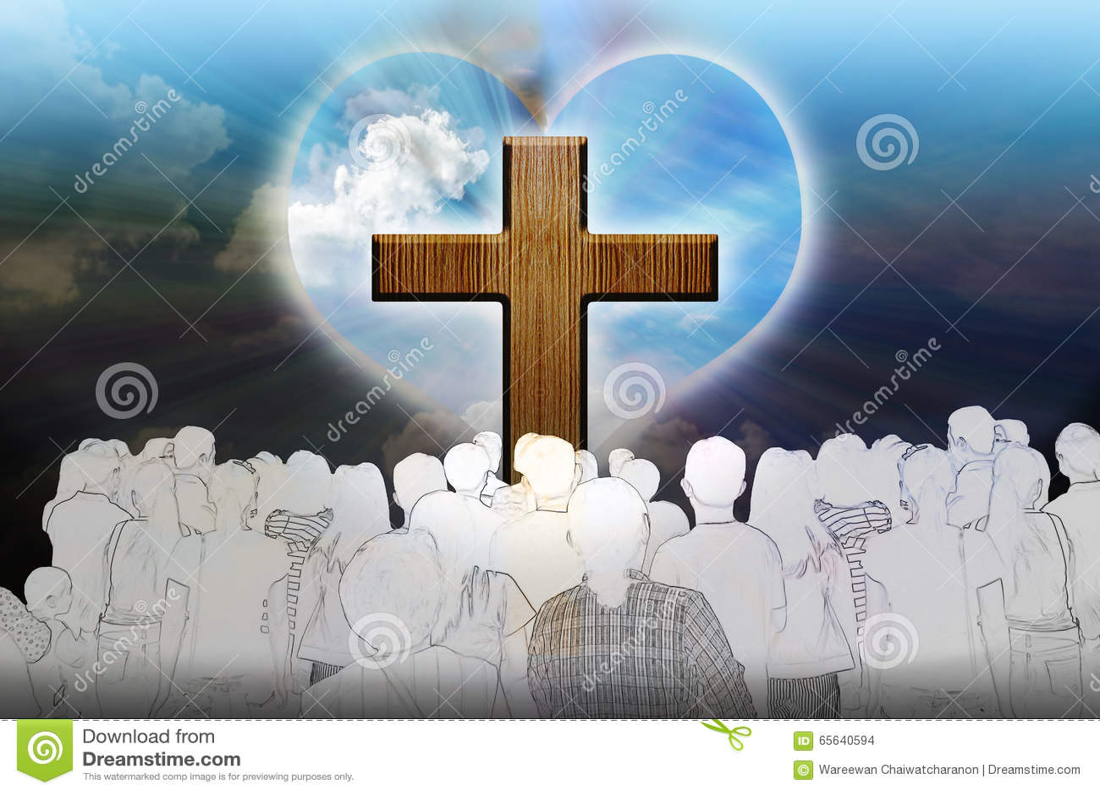 Crucifix et lumière avec des personnes sur le fond foncé