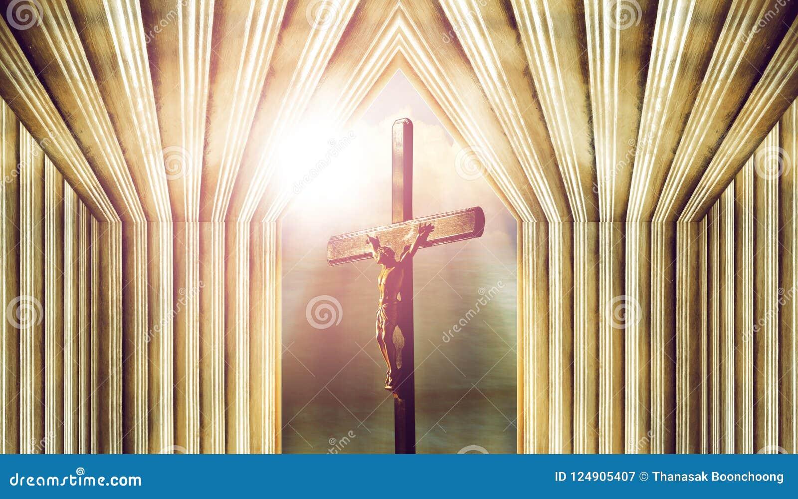Crucifix, Jésus sur la croix dans l église