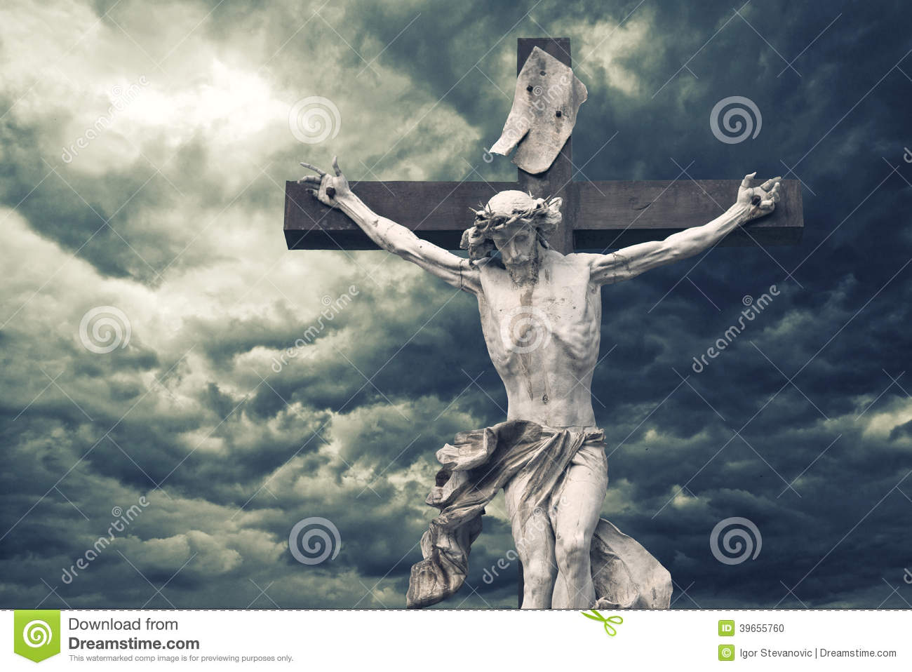Crucifixion Christian Cross With Jesus Christ Statue Over