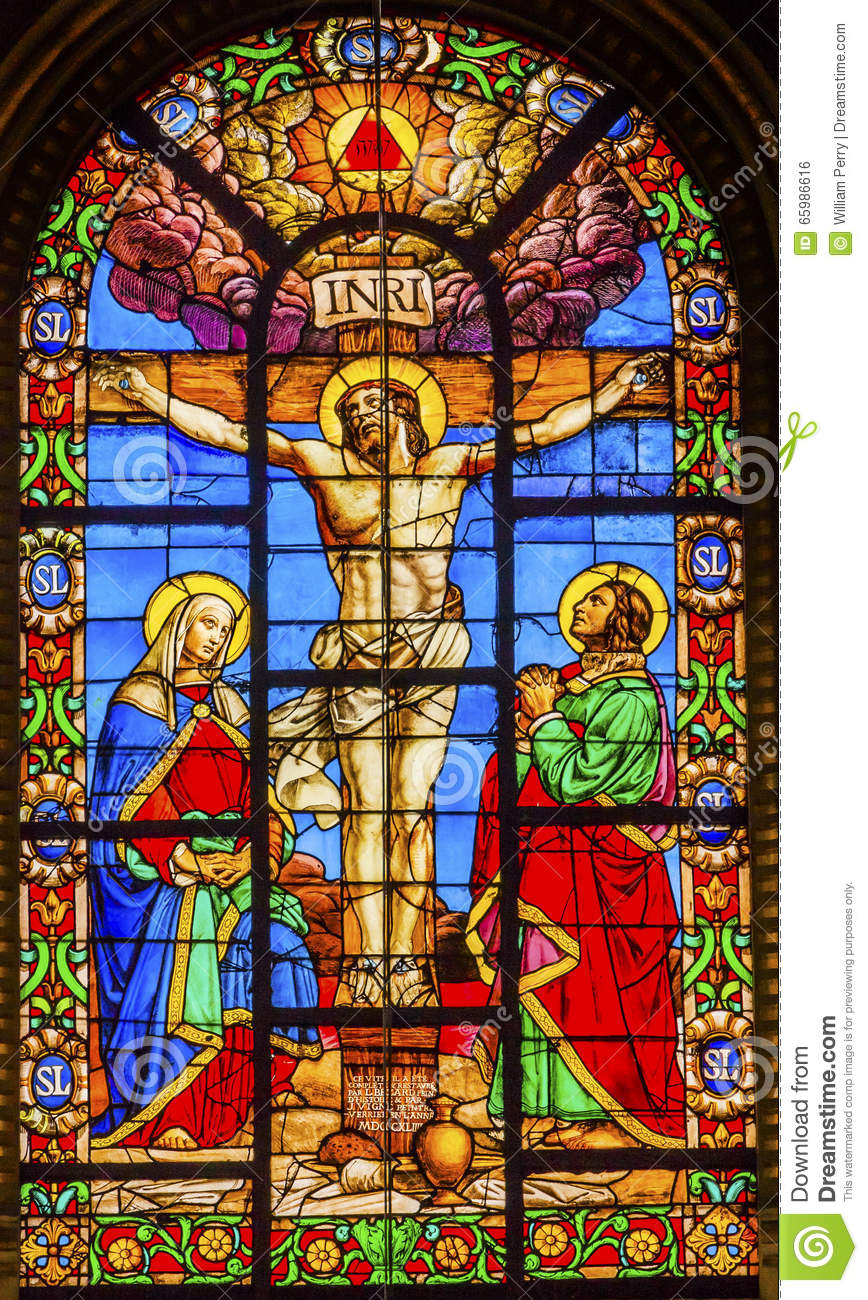 Crucifixion Jesus Stained Glass Saint Louis En L Ile