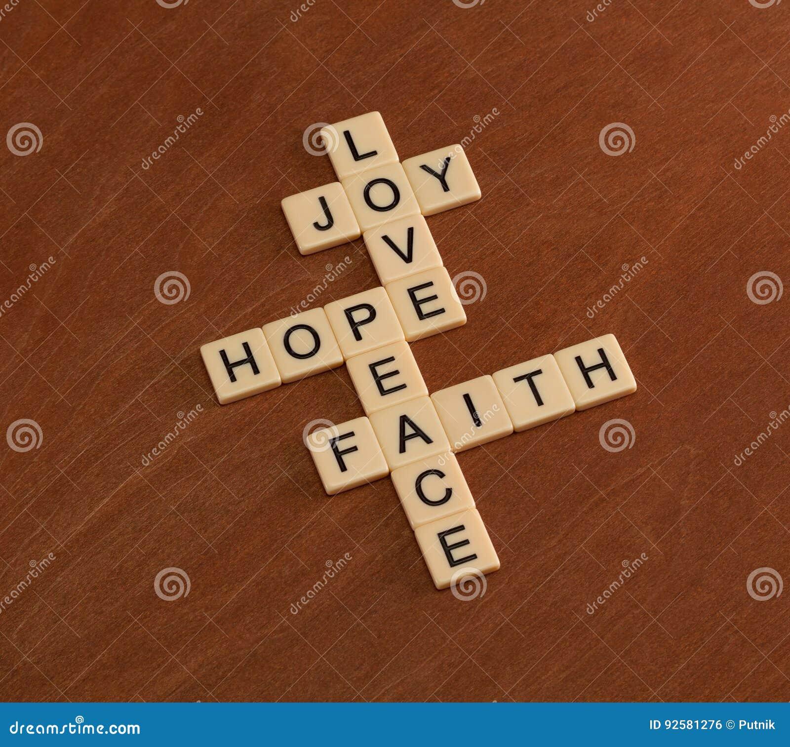 Crucigrama Con La Fe De Las Palabras Esperanza Amor