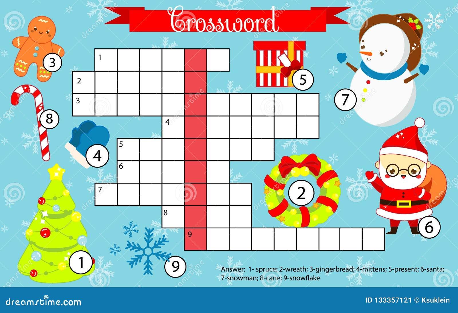 Crucigrama De La Navidad Y Del Ano Nuevo Para Los Ninos Juego De