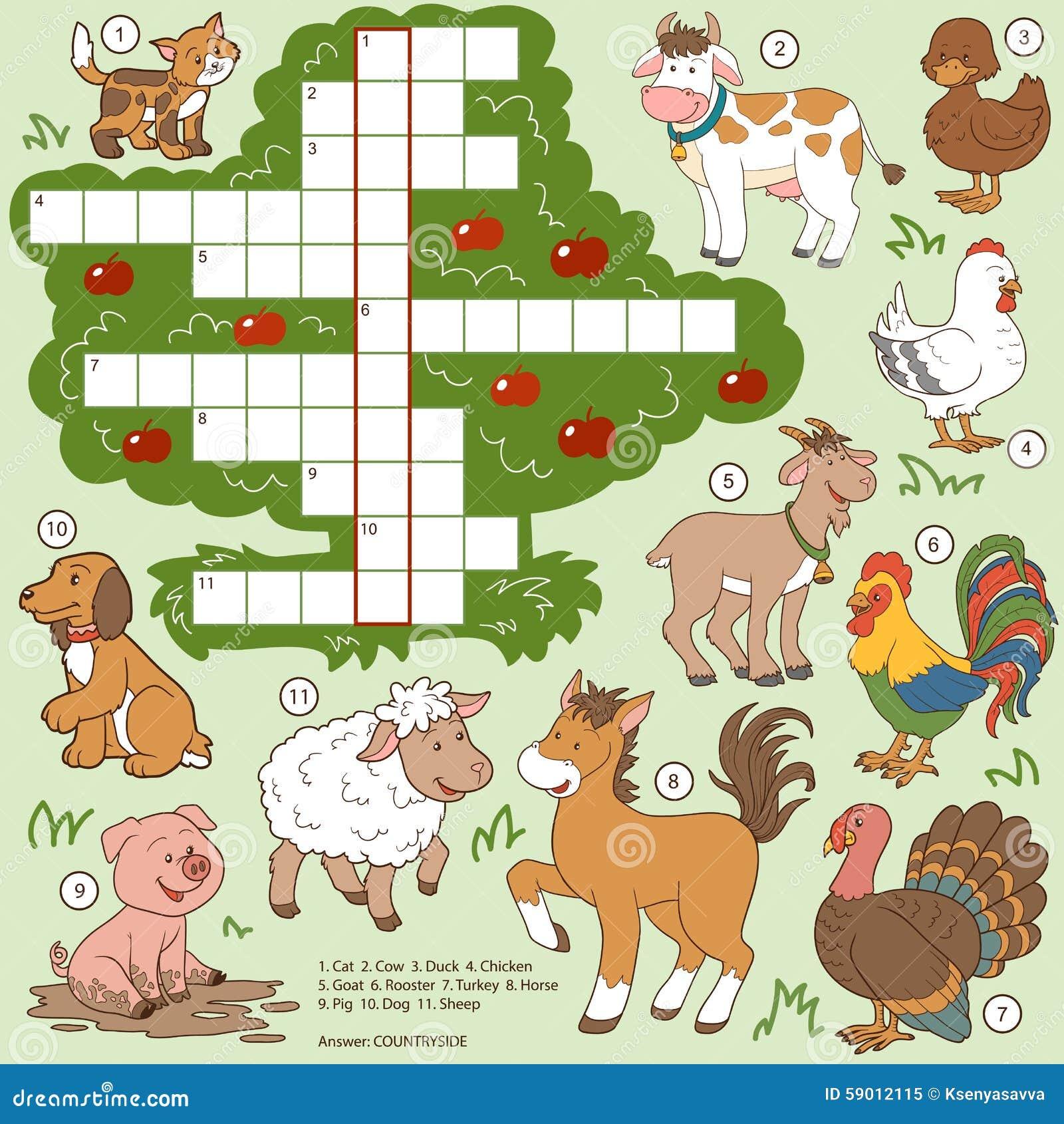 Crucigrama Del Color Del Vector, Animales Del Campo De La Educación ...