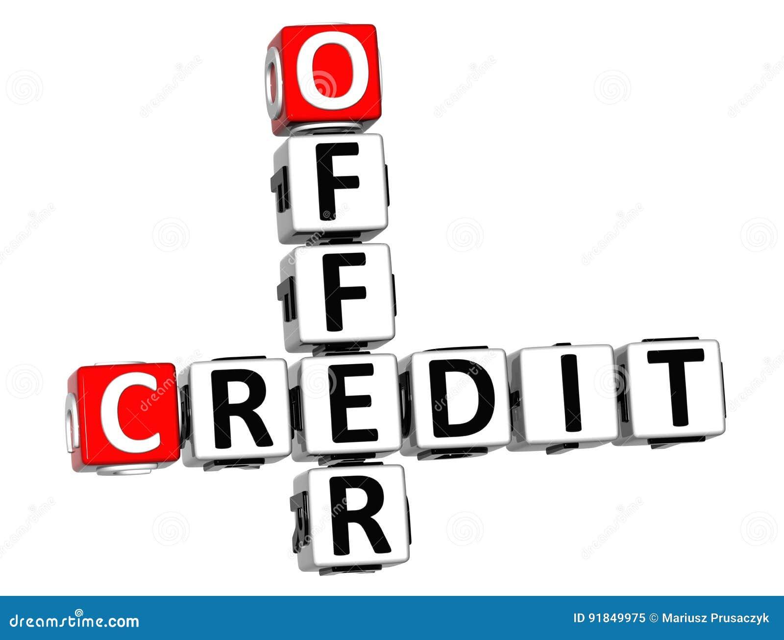 Crucigrama del crédito de la oferta 3D