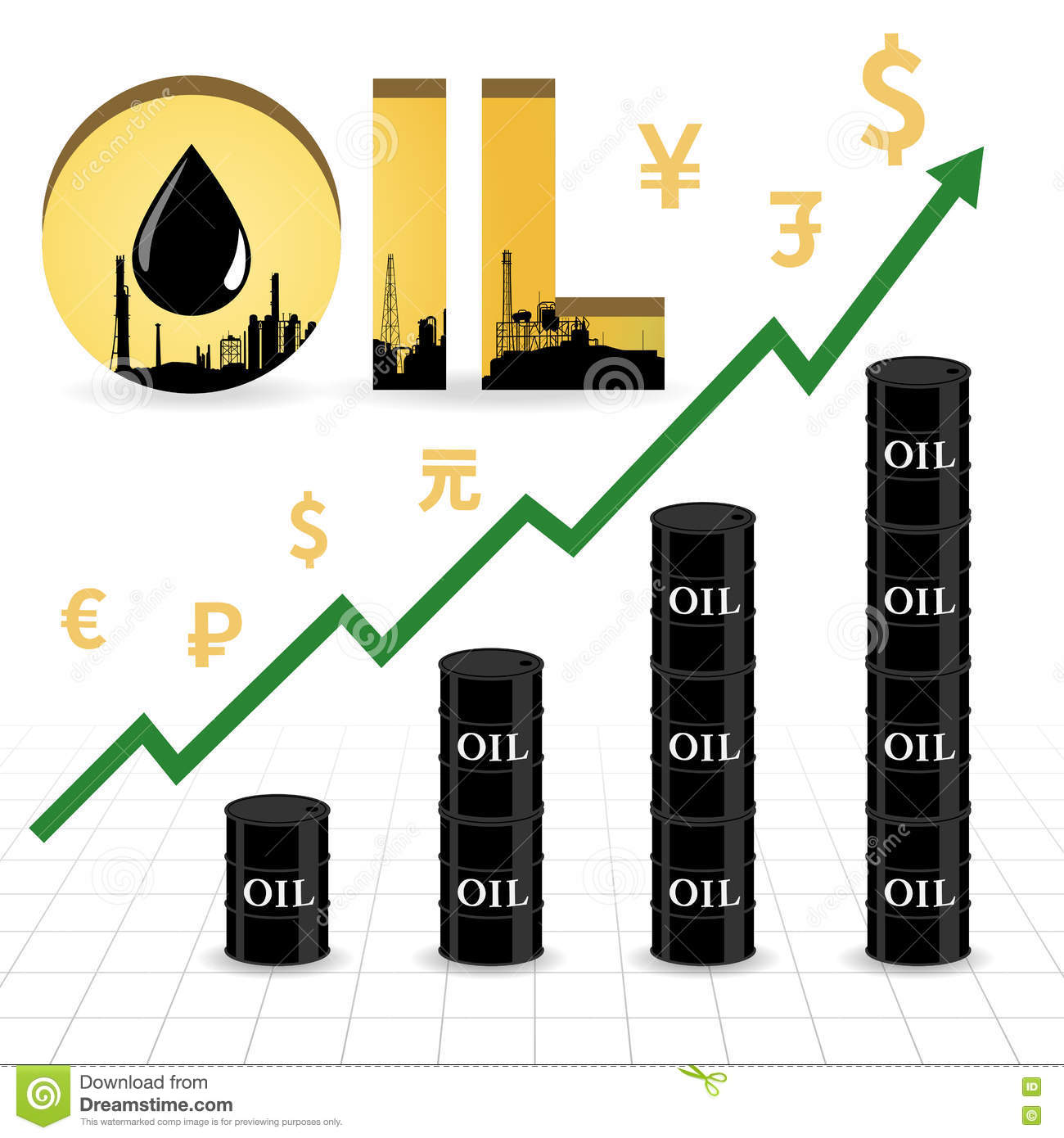 Crude Oil Price Increase Abstract Illustration Stock Vector