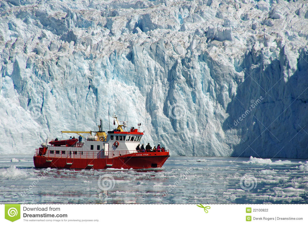 Cruise Boat Among The Icebergs, Greenland Editorial ...