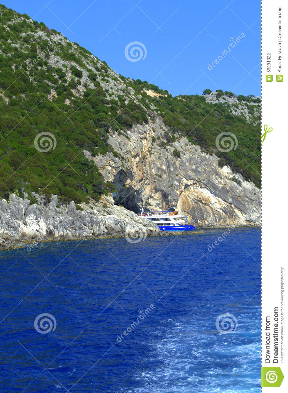 cruise boat in papanikolis sea cave stock photo image cafe clipart images cave clipart black and white