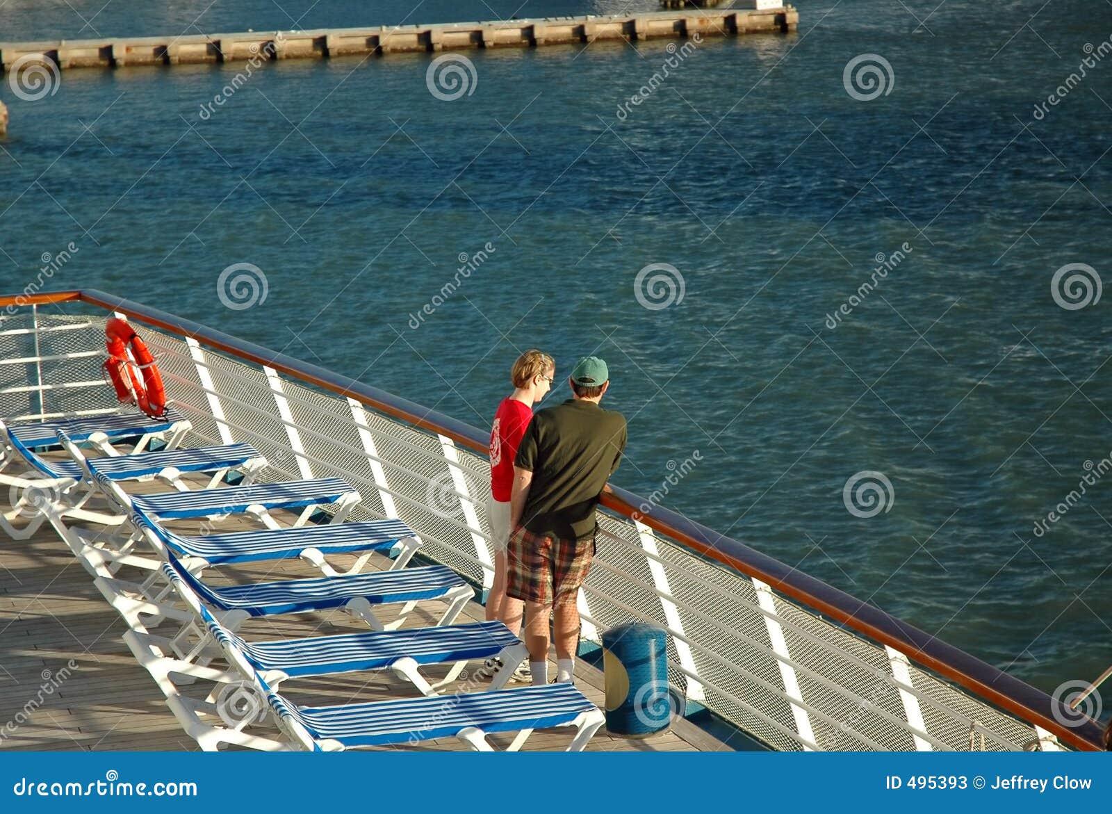Cruise Couple Leave Port