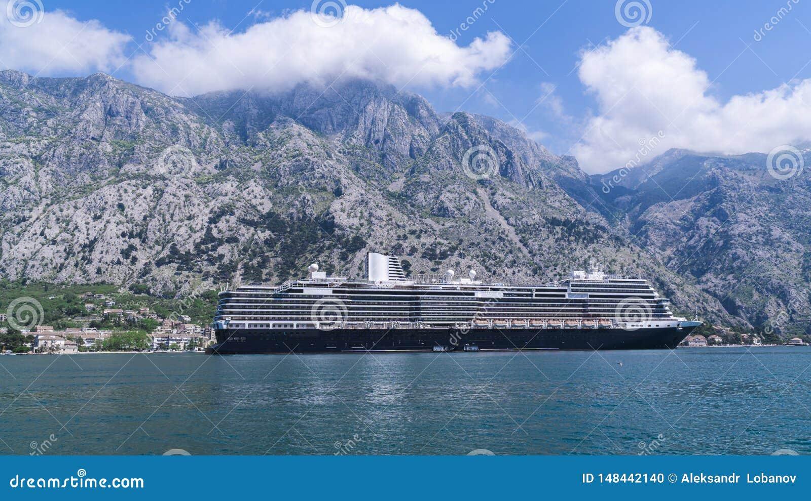 Cruise liner in the adriatic ocean against
