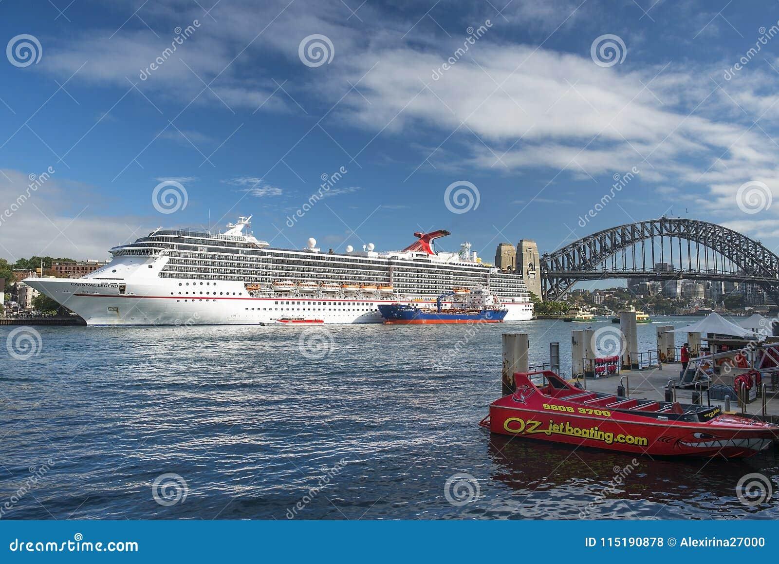Cruise liner Carnival Legend parked in the Sydney Harbour, Sydney, Australia