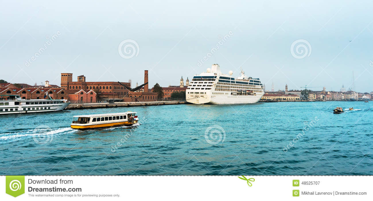 Cruise liner docked in the old town of Venice