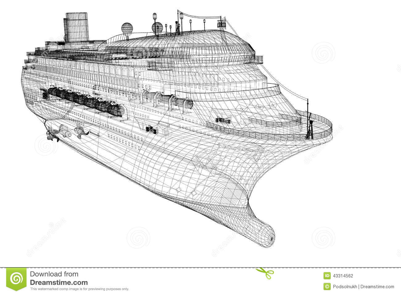 Stock Photo Cruise Liner Ship Body Structure Wire Model Image43314562 on Motor Wire Diagram
