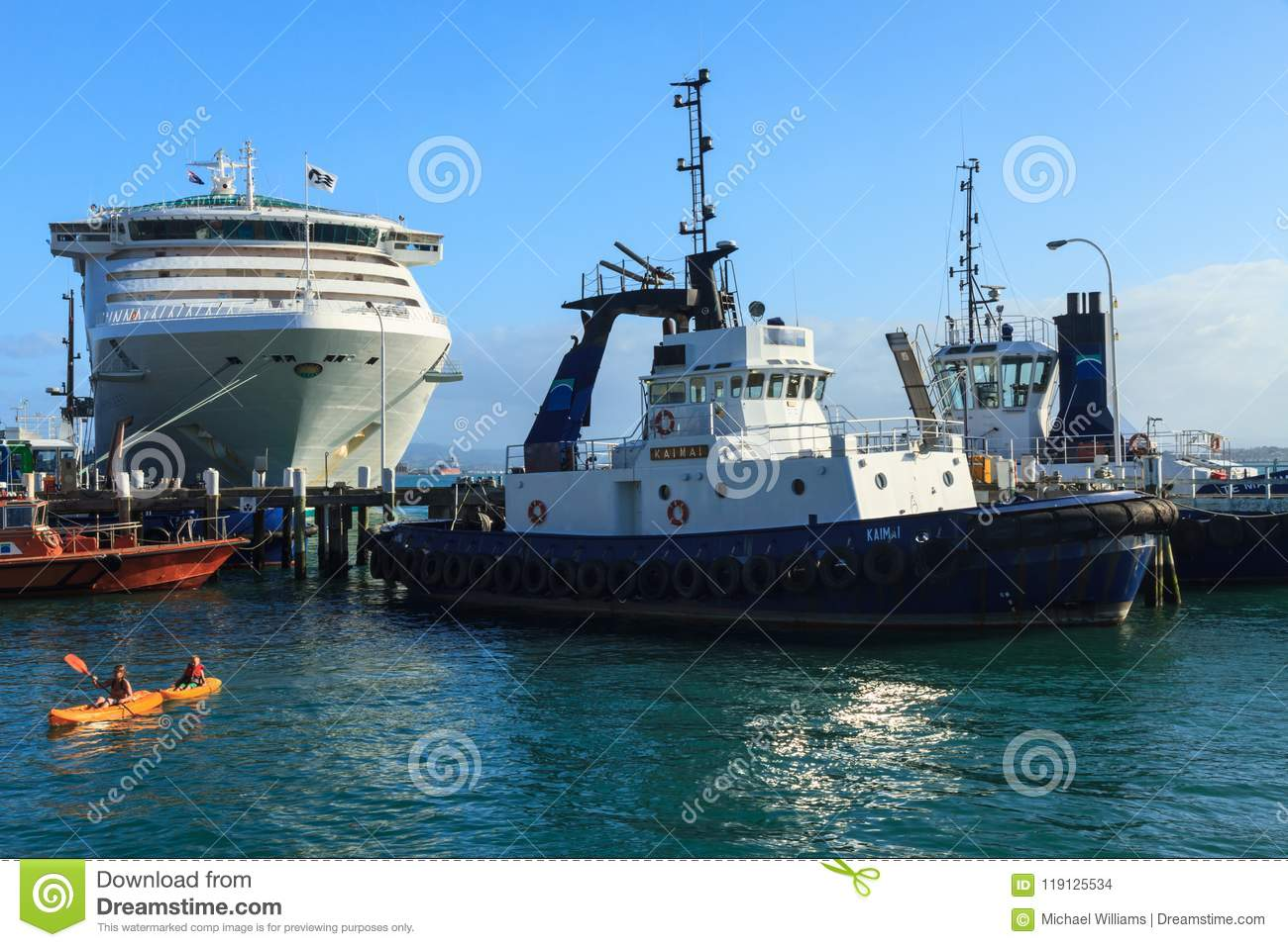 A cruise liner, tugboats, and kayakers in a harbor