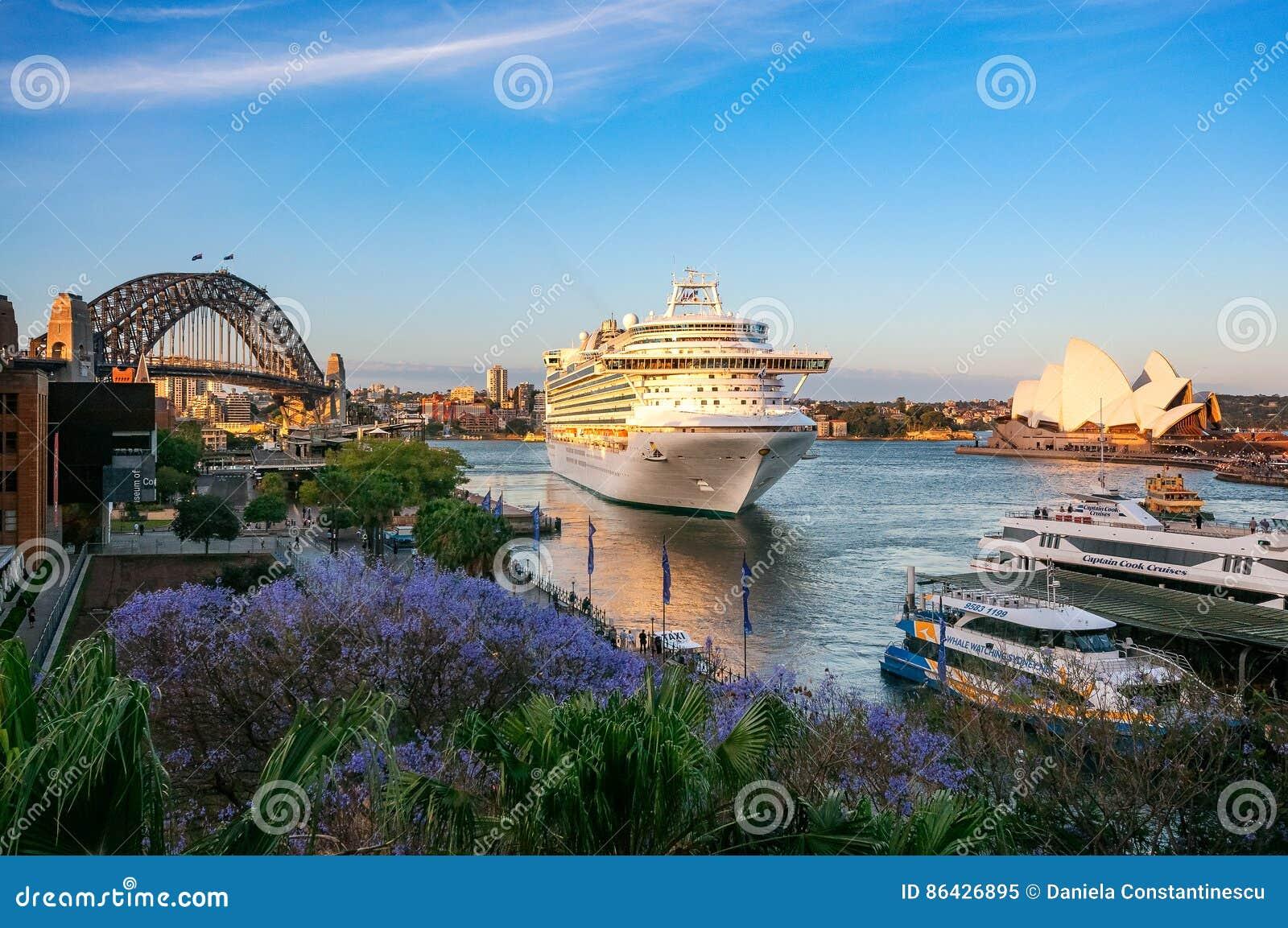 Cruise liner visiting Sydney Harbour, Australia.