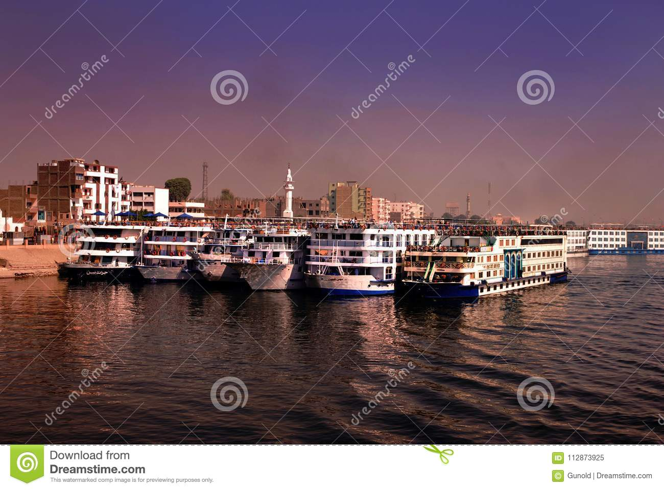 Cruise liners on river Nile anchored at Edfu, egypt