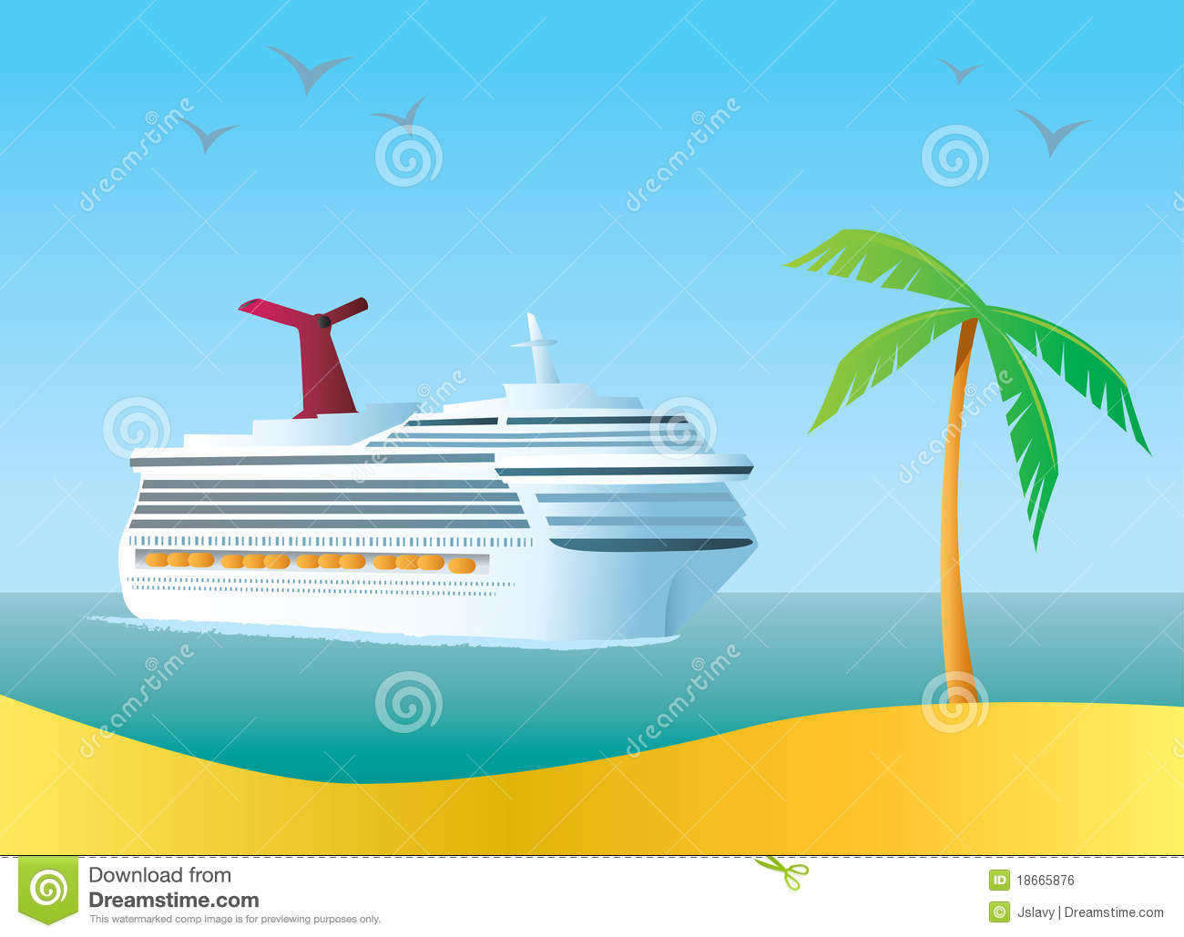 Cruise Ship stock vector. Illustration of port, tropical - 18665876
