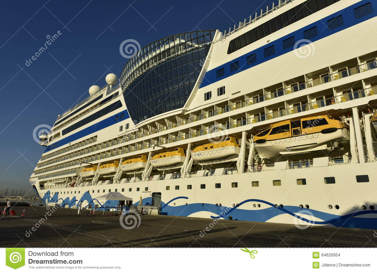 Cruise Ship AIDA Stella In The Harbour Of Dubai United