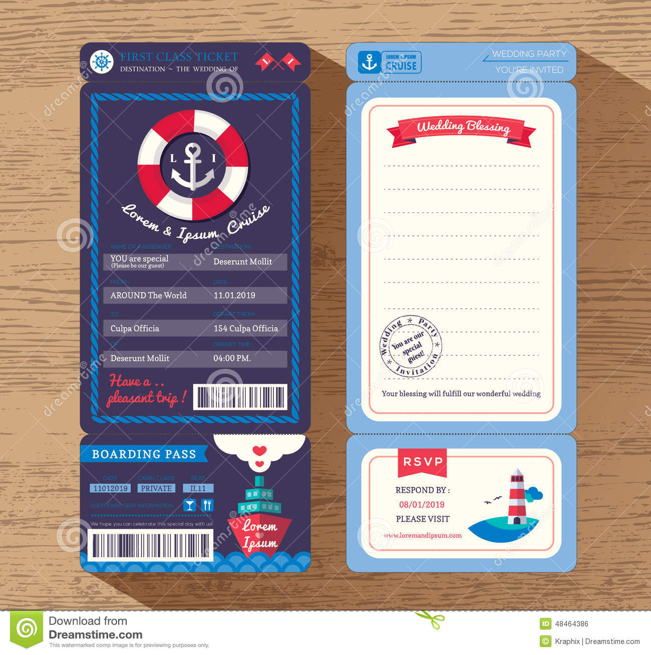 Cruise Ship Boarding Pass Ticket Wedding Invitation Template Stock