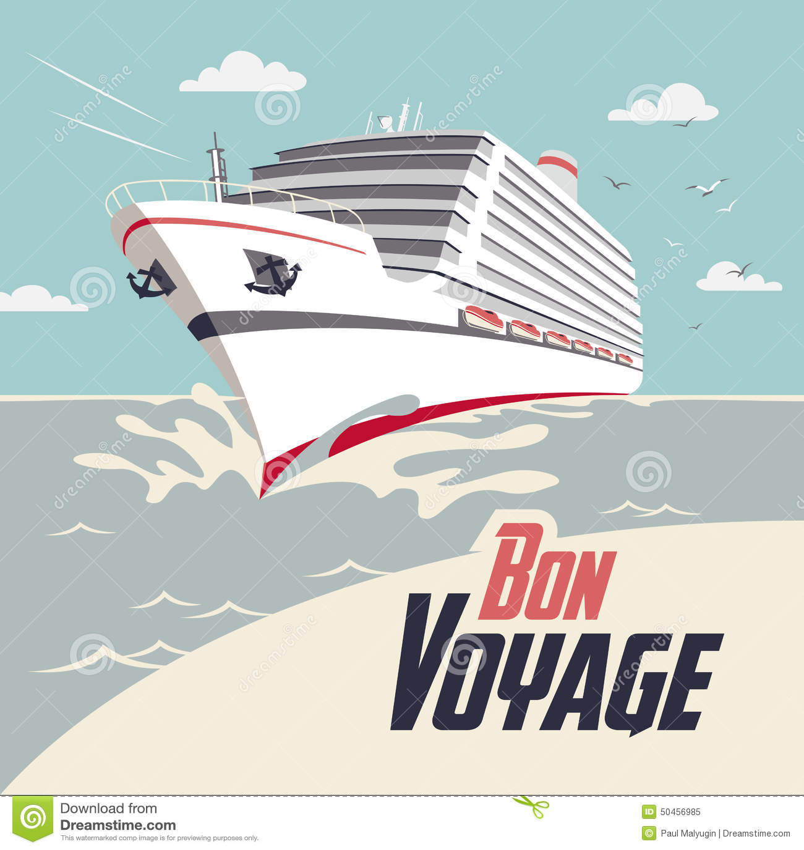 Cruise Ship Bon Voyage Illustration Stock Vector Image