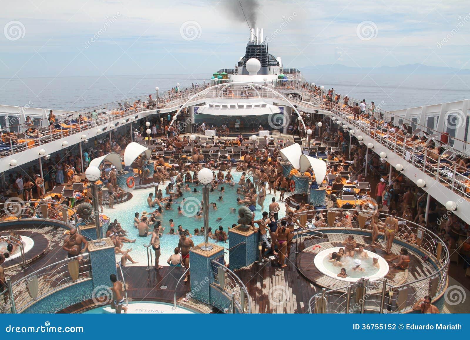 Cruise Ship Crowd Brazilian Coastline Editorial