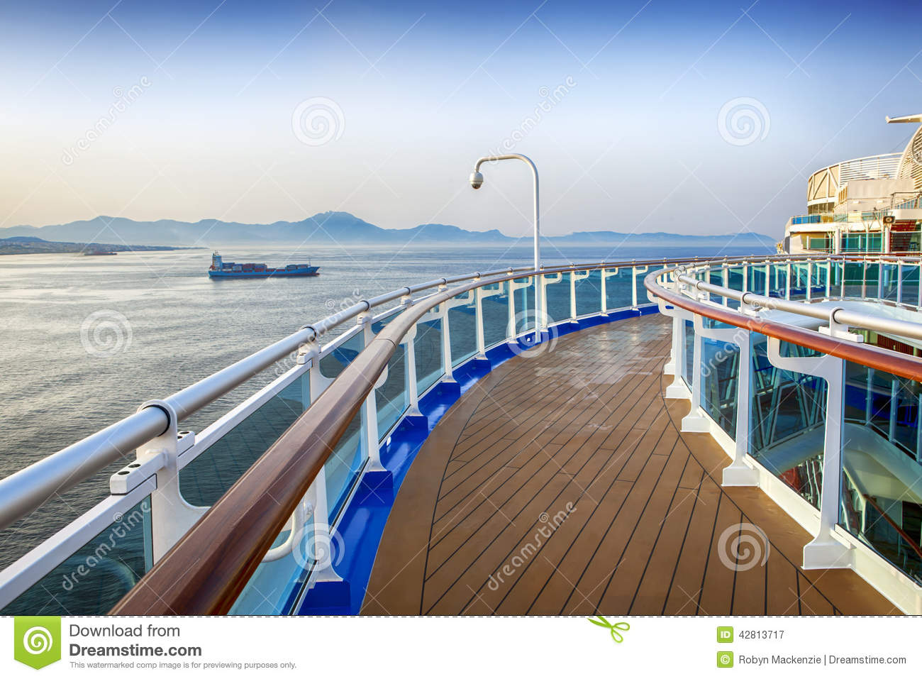 Deck of luxury cruise ship, overlooking islands in the Mediterranean.