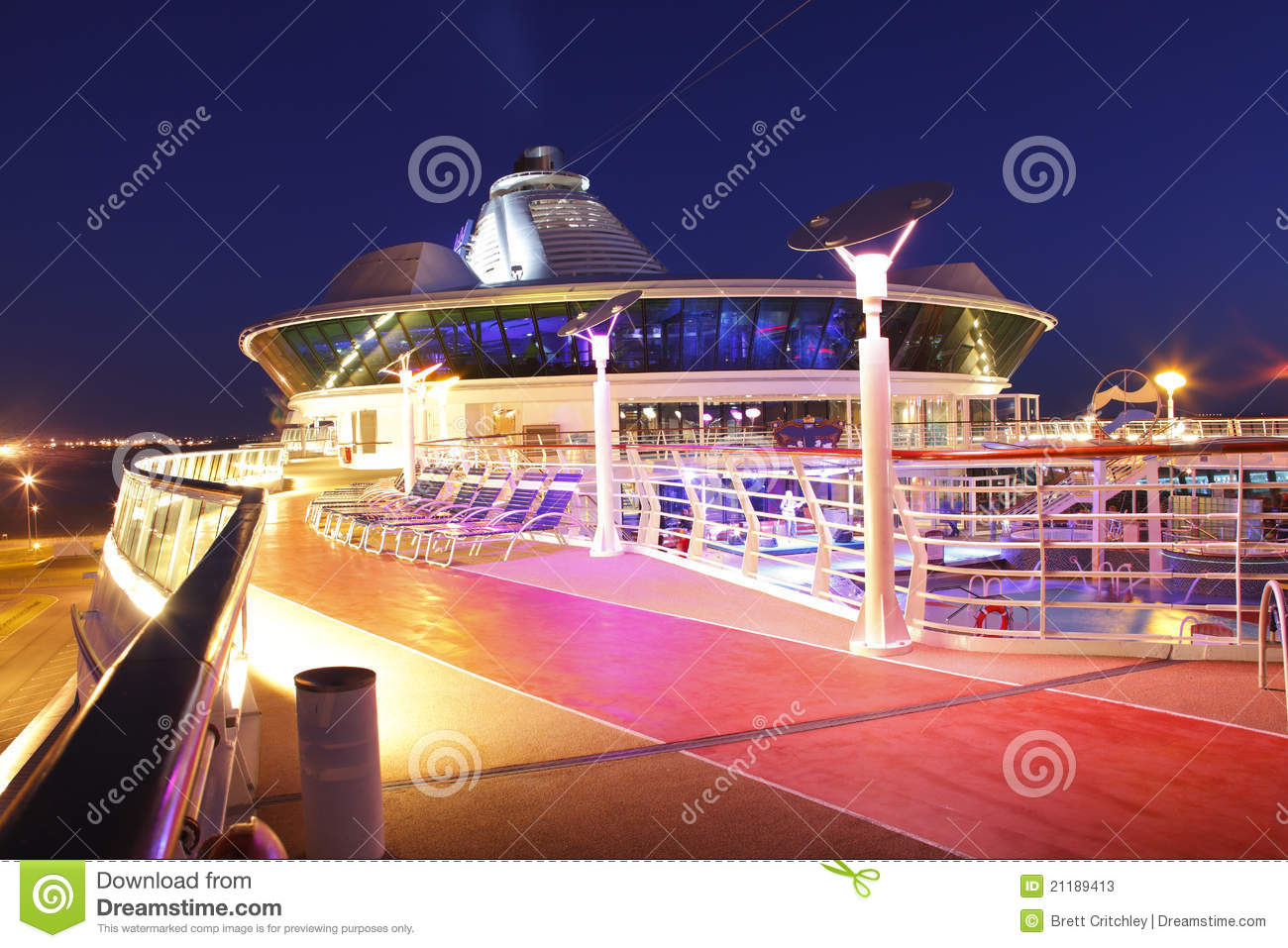 Deck Cruise Liner Late Evening Royalty Free Stock Image