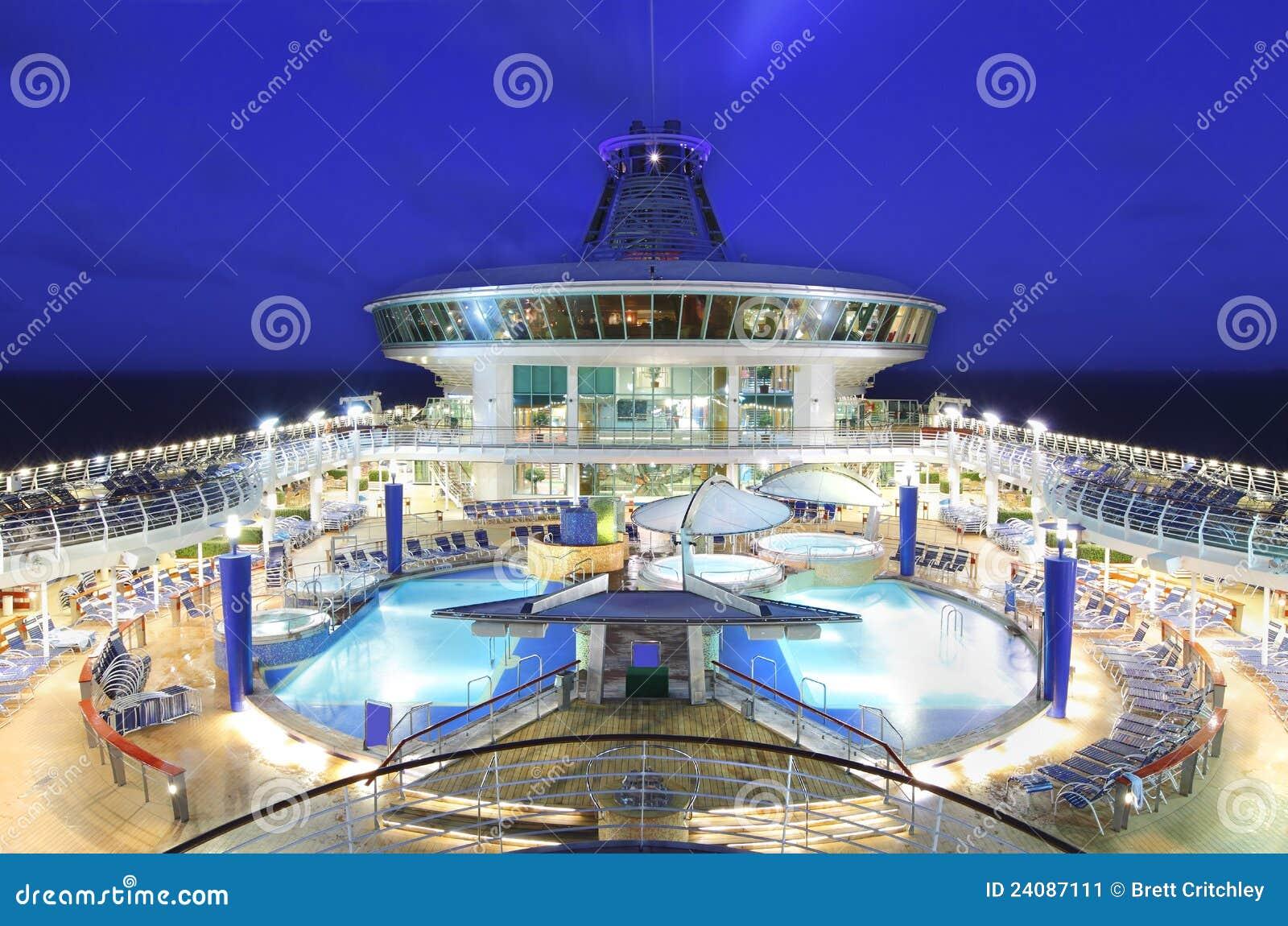 Cruise Ship Deck At Night Stock Image Image 24087111
