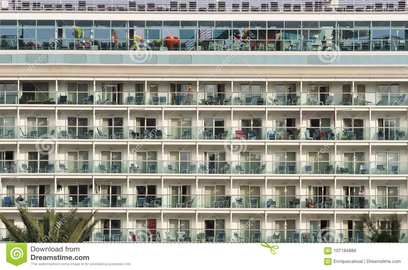 Cruise ship decks at port