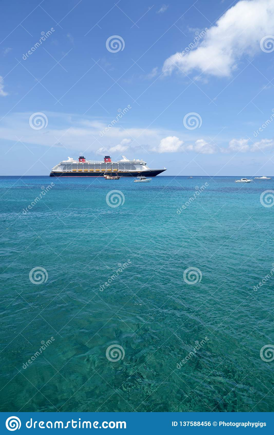 The cruise ship Disney Fantasy anchored off shore in Grand Cayman, Cayman Islands
