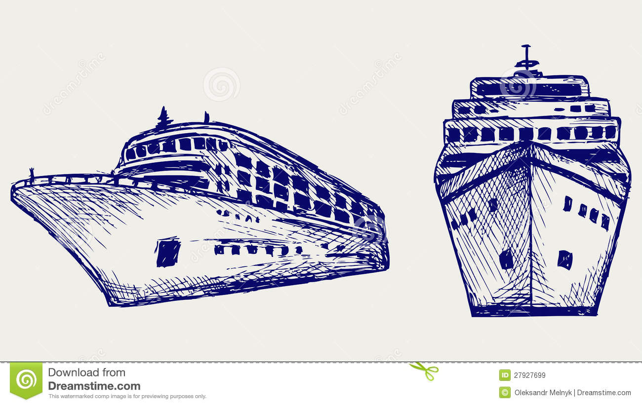 cruise ship doodle style royalty free stock images