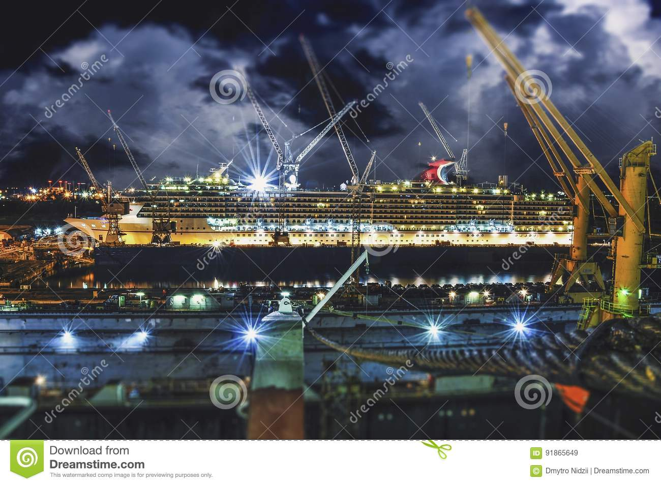 Cruise ship on dry dock