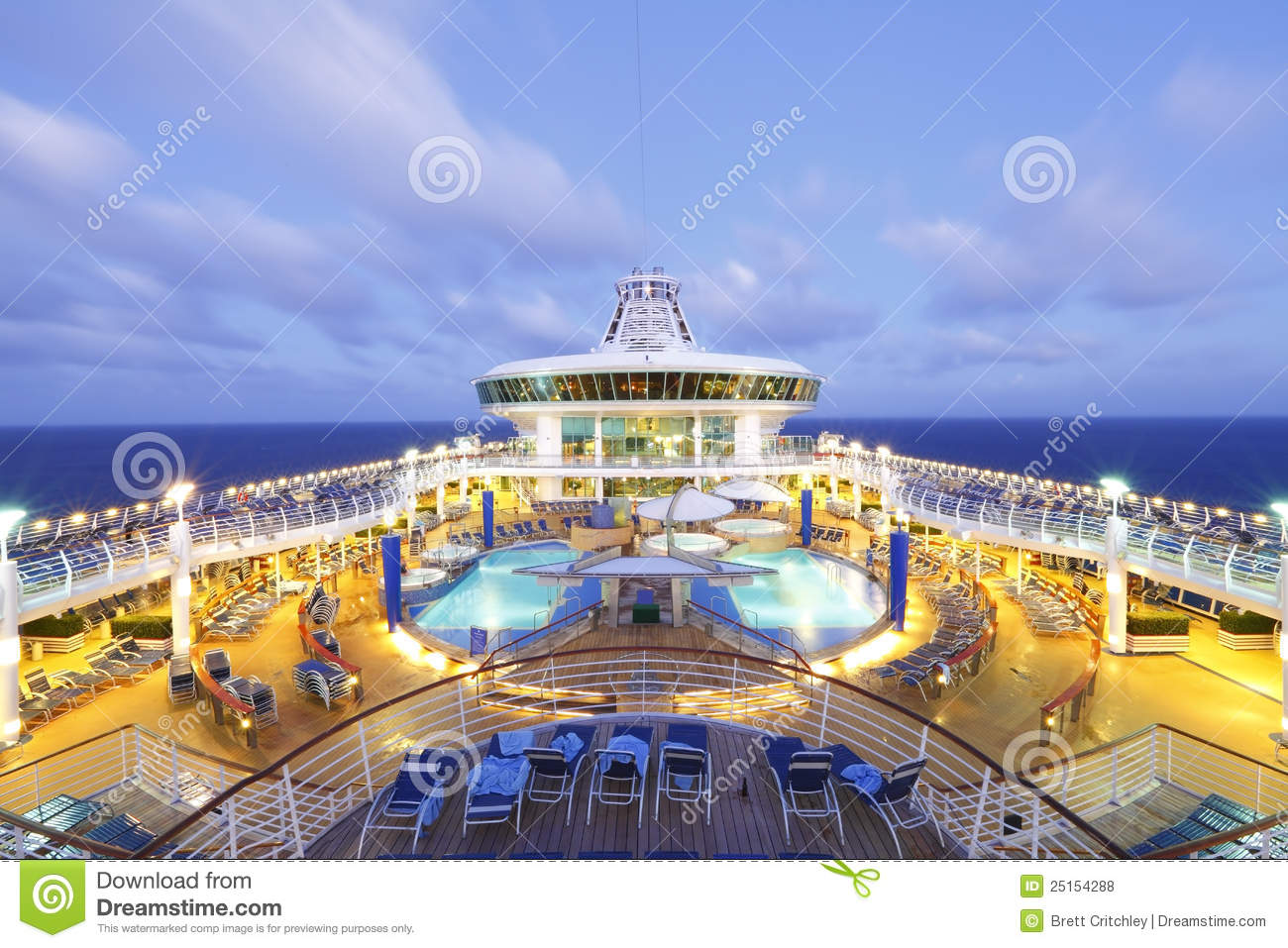 Cruise ship at dusk