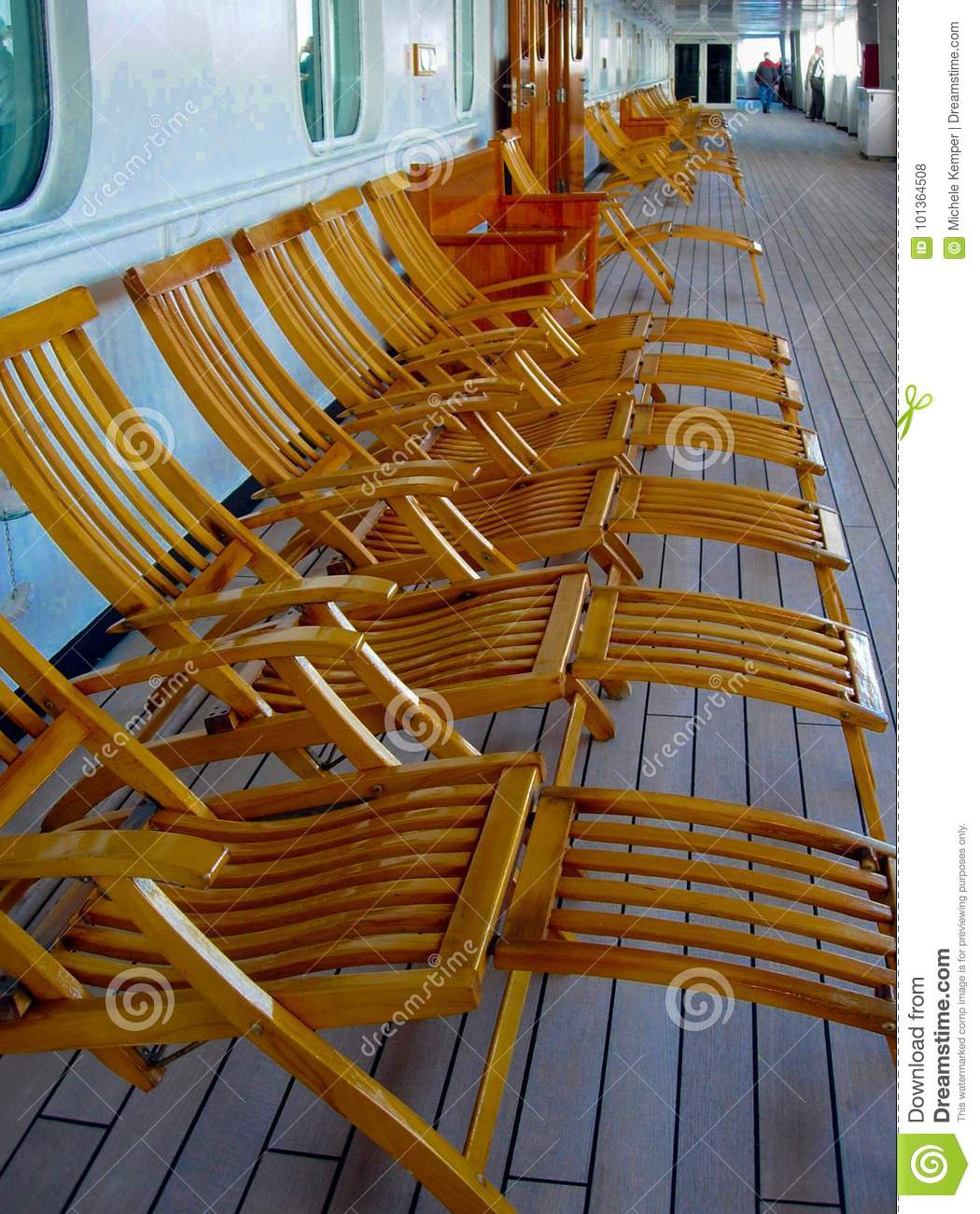 Empty Deck Chairs On Cruise Ship Stock Photo - Image of ...