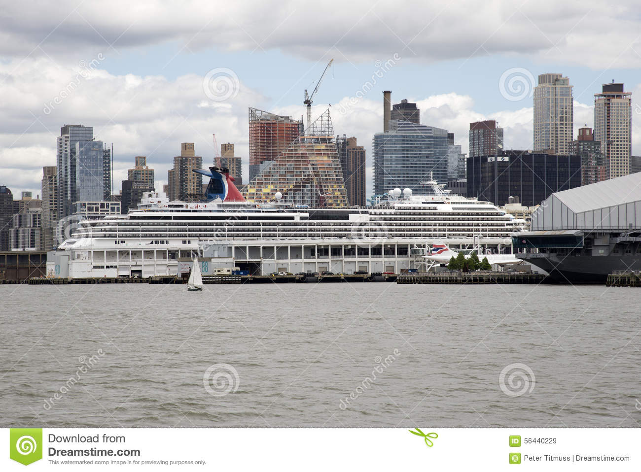 Cruise Ship On Hudson River Berth New York USA Editorial