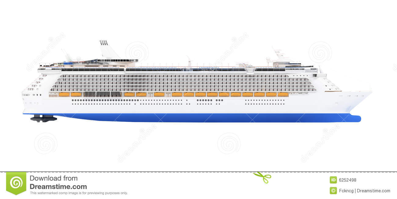 Cruise Ship Isolated Side View Stock Illustration