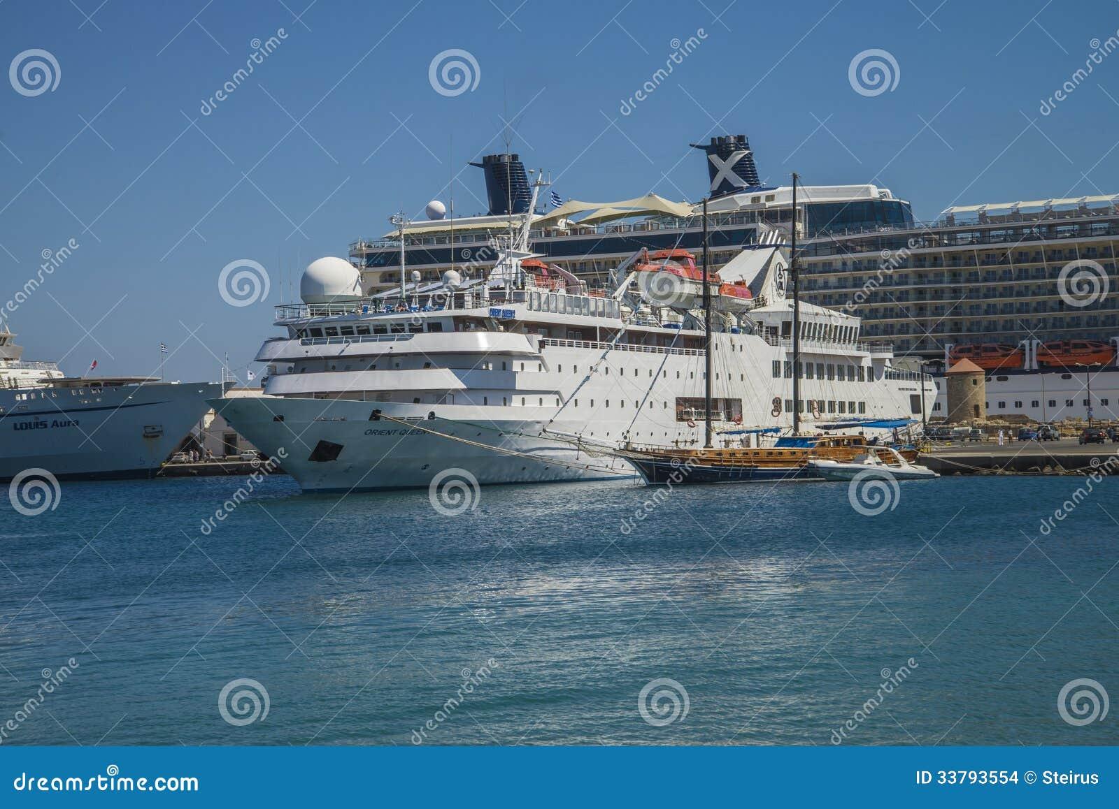 Cruise Ship In Mandraki Harbour Editorial Stock Image ...